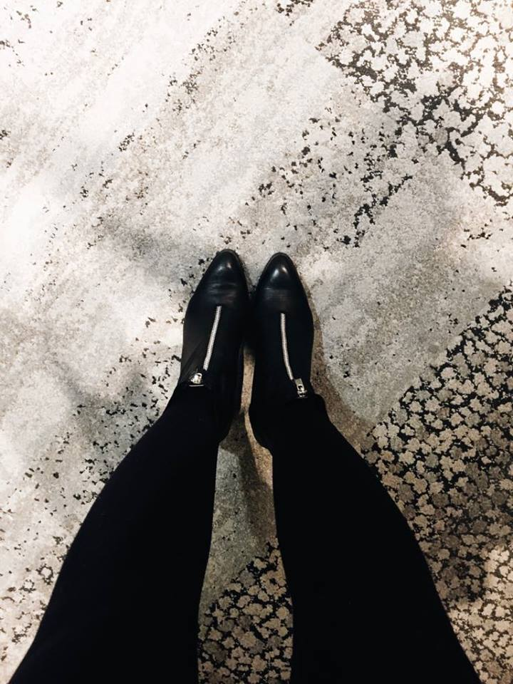 Fashion bottines noires zip zara