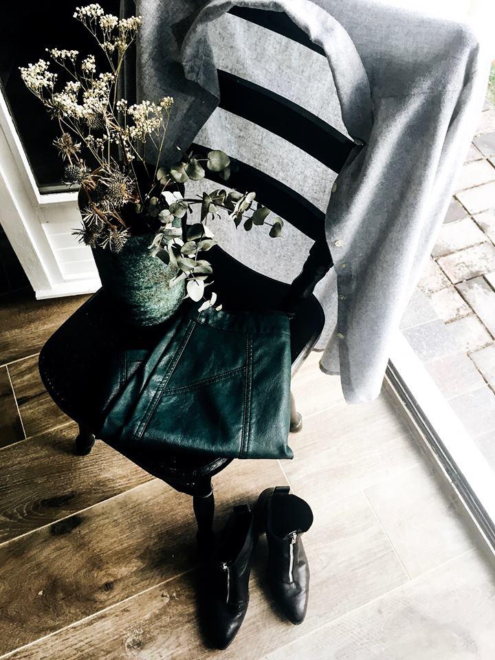 Fashion jupe simili cuir vert
